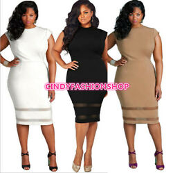 New Women O Neck Lace Inset Evening Cocktail Plus Size Party Bodycon Dress $18.88