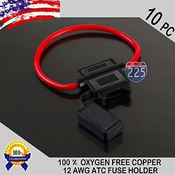10PC Pack 12 Gauge ATC In-Line Blade Fuse Holder 100% OFC Copper Wire Protection $10.50