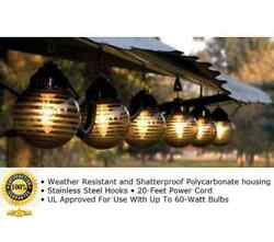 Outdoor String Lighting RV Patio Lights Gazebo Awning Camper Six Hanging Globes