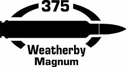 375 Weatherby Mag gun Rifle Ammunition Bullet exterior oval decal sticker car