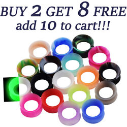Pair Thin Silicone Ear Skin Ear Tunnels Plugs Gauges Earskin Earlets Flesh Gauge $4.39