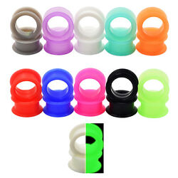 Pair of Ultra Soft Silicone Ear Skin Flesh Tunnels Plugs Gauges Earskin Earlets $4.27