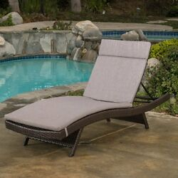 Best Selling Home Decor Luana Wicker Chaise Lounge with Cushion Charcoal