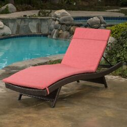 Best Selling Home Decor Luana Wicker Chaise Lounge with Cushion Red