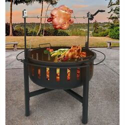 Landmann Fire Rock Fire Pit and Grill with Rotisserie Black