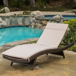 Best Selling Home Decor Luana Wicker Chaise Lounge with Cushion Beige