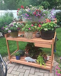 Potting Work Bench Station Planting Solid Wood Construction Table Outdoor Garden