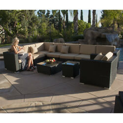 Modern 10 pc Luxury Outdoor PE Wicker Patio Sofa Sectional Chair Furniture Set