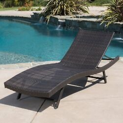 Best Selling Home Decor Kauai Wicker Patio Chaise Lounge Brown