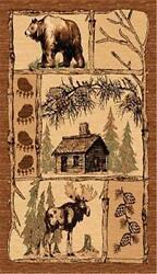 8' X 11' COUNTRY THEME LOG lodge CABIN BEAR & ELK BROWN AREA RUG WITH PINES