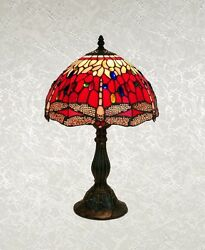 Tiffany Style Red Multi Color Stained Glass Dragonfly Table Lamp Shade 12quot; $75.00