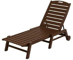POLYWOOD Nautical Wheeled Chaise StackablePatio Furniture Deck Pool Mahogany