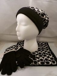 NWT COACH SET BLACK PALE GRAY AngoraCashmere Hat 86024 Gloves 86026 Scarf 86019