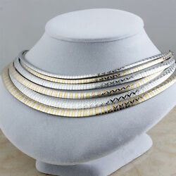 Women Stainless Steel Fashion Silver Gold Choker Elegant Chain Necklaces Jewelry