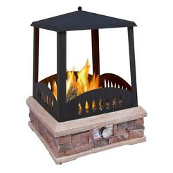 LandMAnn Grandview 24 in. Propane Gas Outdoor Fireplace with Push Button Igniter