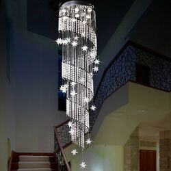 H94.5quot; x W23.6quot; Modern Contemporary Lamp Star Rain Drop Crystal Chandelier $488.00