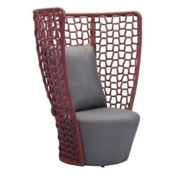 Zuo Faye Bay Beach Outdoor Chair Metal Chairs in Cranberry and Gray
