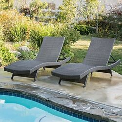 Set of 2 Olivia Outdoor Grey Wicker Chaise Lounge Chairs