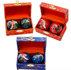 2 SETS CHINESE HEALTH STRESS RELIEF BAODING BALLS THERAPY DRAGON FREE SHIPPING $15.99