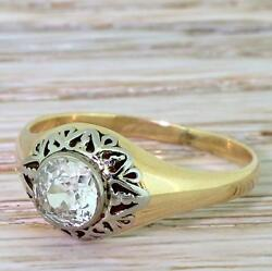 ART DECO 0.80ct OLD CUT DIAMOND ORNATE SOLITAIRE RING - 14k Gold - c 1940