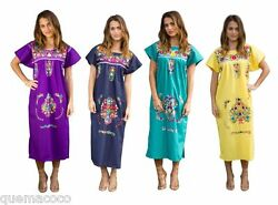 Any Color HAND Embroidered Mexican Dress Vintage Tunic Peasant SMALL TO PLUS $36.99
