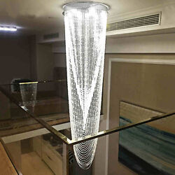 H98.4quot; x W31.5quot; Modern Contemporary Lamp Waterfall Raindrop Clear K9 Chandelier $1680.00