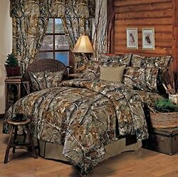 Realtree All Purpose Camouflage 9 Pc FULL Comforter Bedding Set - Hunting Camo
