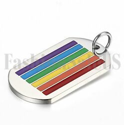 Stainless Steel Rainbow LesbianGay Pride LGBT Pendant Necklace Dog Tag Chain