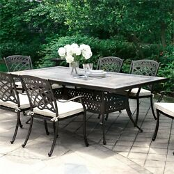 Furniture of America Donell Outdoor Dining Table in Antique Black