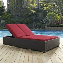 Modway Convene Patio Double Chaise Lounge in Espresso and Red