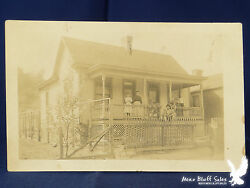 RPPC Sweet Home Picket Fence Fruit Tree Children Ma Pa Grandpa Family Portrait $5.00