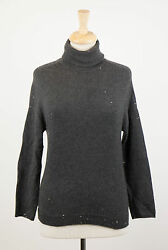 NWT BRUNELLO CUCINELLI Gray Cashmere Blend W Sequins Turtleneck Sweater S $2875