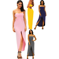 Women Draped Hollow-out Maxi Dress High Low Stage Dance Cute Club Sexy Slit