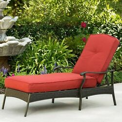 Chaise Lounge Chair Outdoor Wicker Red Cushion Relaxer Yard Pool Patio Furniture