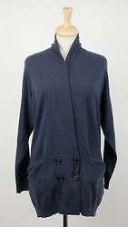 NWT BRUNELLO CUCINELLI Woman's Blue Cashmere Knit Sweater Cardigan Size L $2470
