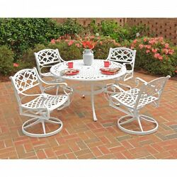 5 Piece Outdoor Round Patio Set 48 Inch Top Cast Aluminum With 4 Swivel Chairs.