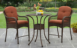 Patio Furniture Set 3 Piece Counter Height Chairs Outdoor Wicker Bistro Pool Bar