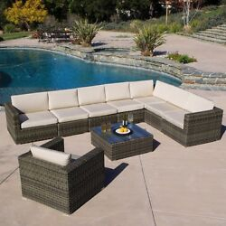 Outdoor Patio Furniture 9pcs Grey All-weather Wicker Sectional Sofa Set