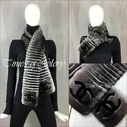 RARE Auth Chanel Extra Long CC LOGO Black Grey ORYLAG FUR CASHMERE Scarf Stole