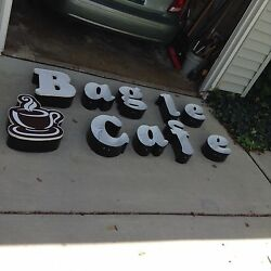 Bagel Cafe Yummy advertising sign with LED lighting Commercial Outdoor Sign
