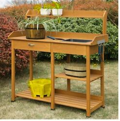 Potting Bench with Storage and Sink Garden Work Station Outdoor Planting Table