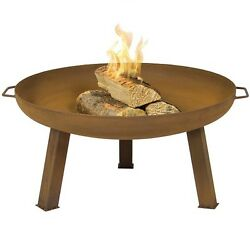 Fire Pit Bowl With Cover Large Cast Iron Outdoor Rustic Wood Burning Portable