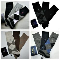 Polo Ralph Lauren 3 Pack Men's Dress Argyle Cotton Socks Black Brown Navy Gray