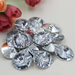 50pcs Acrylic Button Round Crystal Clear Clothing Sewing Crafts DIY Supplies