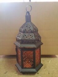 Amber orange Glass Metal Moroccan Style Decor Hanging Candle Lantern holder 12quot;T $20.00