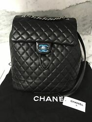 2016 NWT AUTHENTIC CHANEL LEATHER LAMBSKIN BLACK SILVER HDW BACKPACK BAG Large