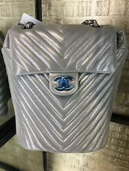 NWT AUTHENTIC CHANEL SILVER LEATHER LAMBSKIN RUTHENIUM HDW BACKPACK Bag CHEVRON