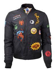 OFFICIAL MARVEL COMICS SUPER HERO PATCHES BLACK FEMALES BOMBER JACKET NEW GBP 89.99