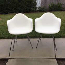 Eames Molded Plastic 4-Leg Armchairs Set of Two