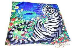 Hermes Carre Cashmere Silk Shawl Scarf Tiger Animal Zebra Authentic 56